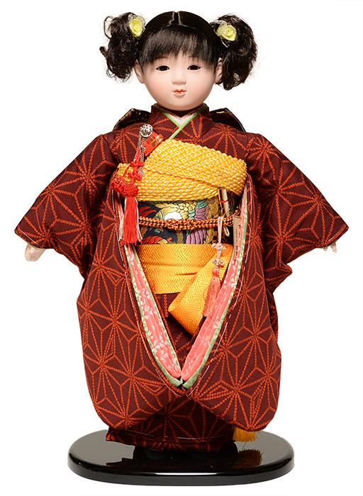【ひな人形】【市松人形】13号市松人形:綸子衣裳【カール】:翠華作【浮世人形】