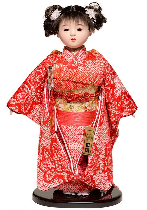 【ひな人形】【市松人形】市松人形10号市松人形:正絹総絞衣装:敏光作:敏光作【木目込市松人形】【浮世人形】