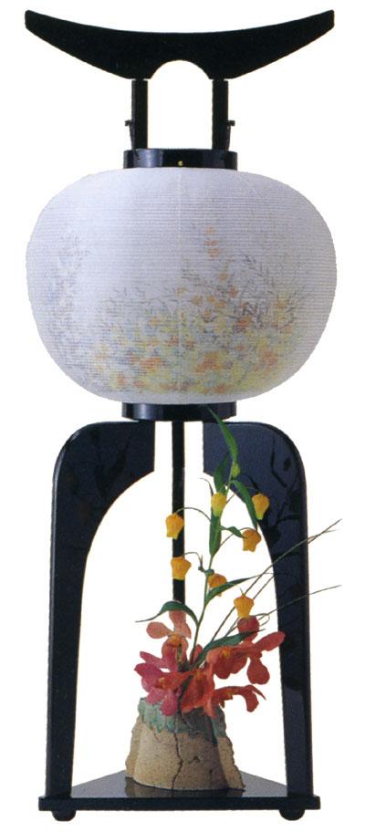 【盆提灯・盆ちょうちん】【送料無料!】12号静「花瓶付行灯」:一対