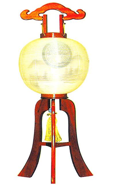 【盆提灯・盆ちょうちん】【送料無料!】家紋大内行灯 12号山水けやき(絹二重)