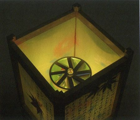【盆提灯・盆ちょうちん】【!】回転灯「つづれ1号釈迦 樹脂製」(一対)