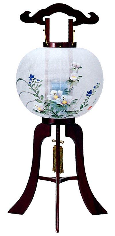 【盆提灯・盆ちょうちん】【送料無料!】回転灯 「12号美濃桜調 木製品」正絹手描(一対)