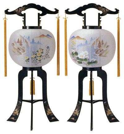 【盆提灯・盆ちょうちん】一対仕様回転行灯「松川」【送料無料!】fs04gm