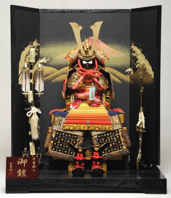 10号大鎧:赤富士屏風飾:宮冑作