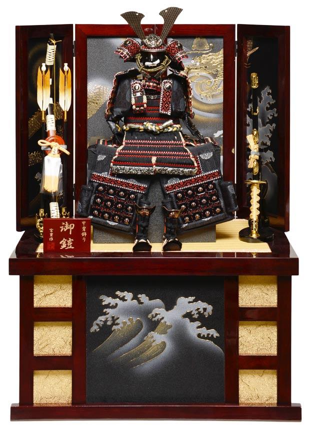 【五月人形】【コンパクト収納】6号ブロンズ陣鎧収納飾:宮冑作【鎧平飾り】