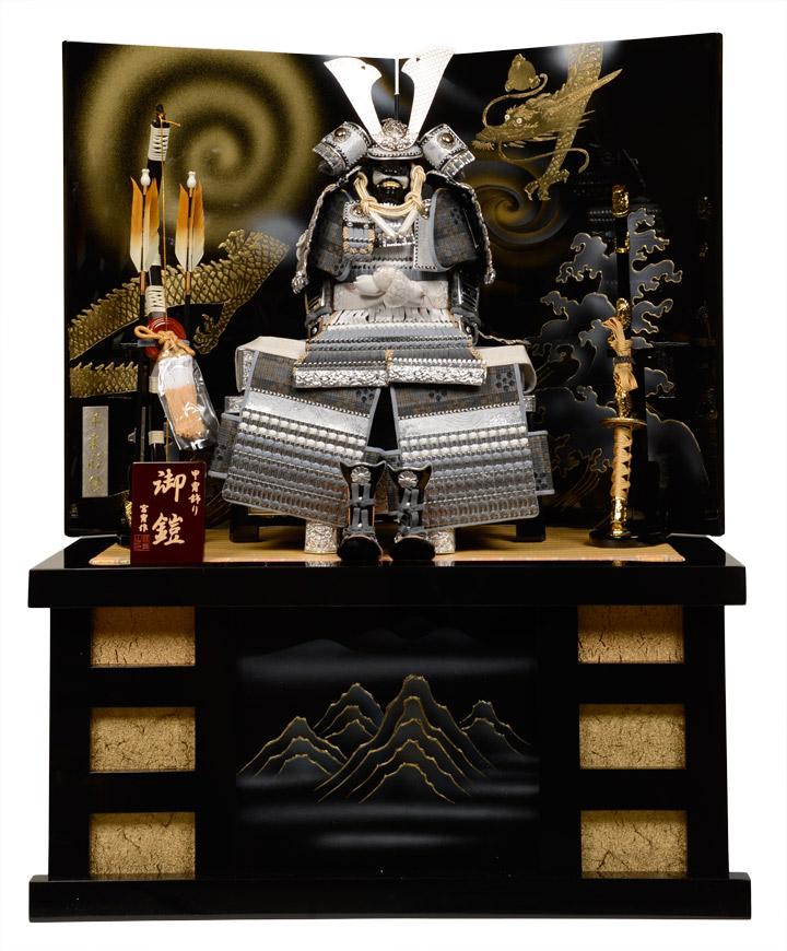 鎧平飾り コンパクト収納 6号グレー段大将鎧・昇龍手描屏風収納飾:宮冑作