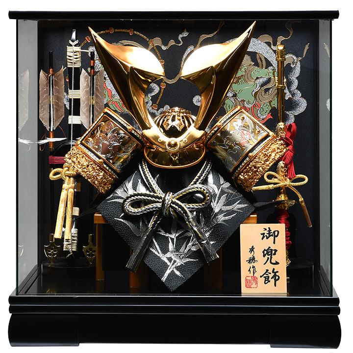 【五月人形】10号翼金立体鍬形兜 風神・雷神ケース:秀穂作【兜ケース飾り】