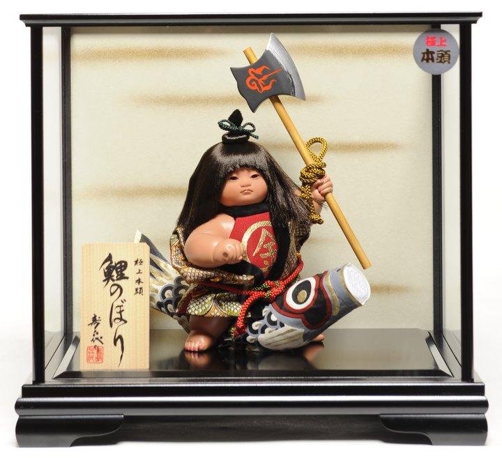 【五月人形】【ご進物ケース】金太郎と鯉:寿喜代作【武者人形】