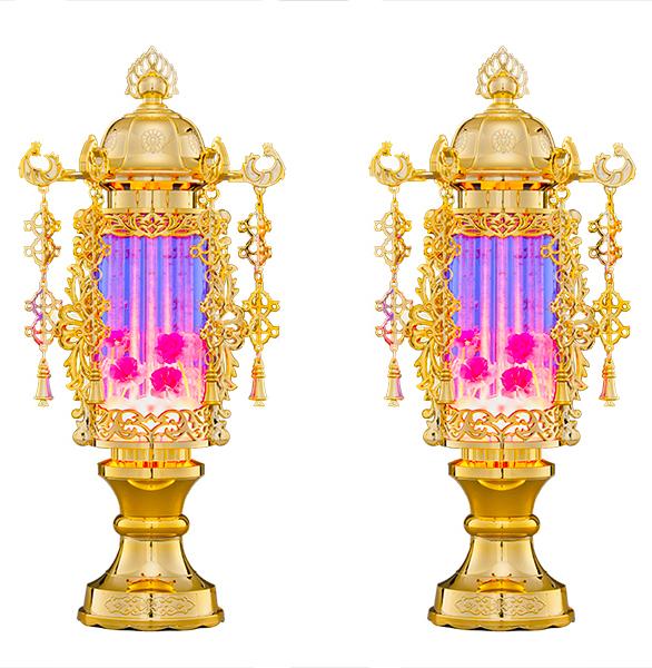 【バブル灯】【霊前灯】7号バブル・パープルヨーラク付:一対【送料無料】【お盆提灯・盆ちょうちん】【初盆】