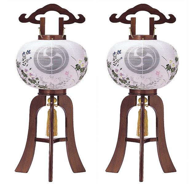 【家紋盆提灯】9号華月けやき 絹二重 一対