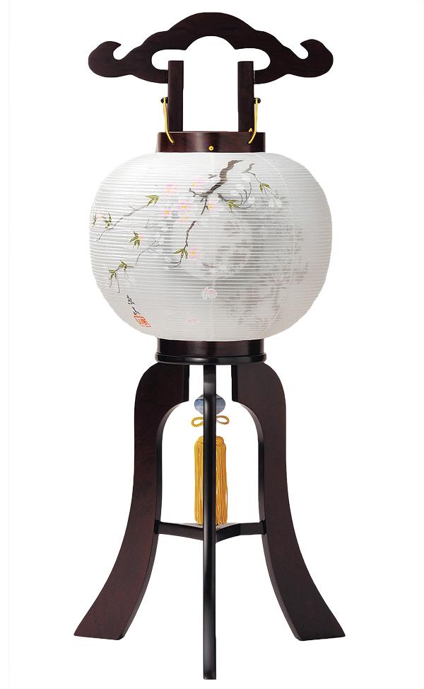 【お盆提灯 盆提灯 盆ちょうちん】【大内行灯】10号桜花ワイン【リモコンLEDフリーライト】【盆提灯】