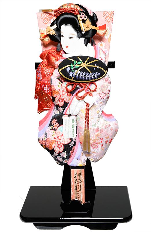 【羽子板】羽子板 18号藤娘:桜柄綸子振り袖押し絵羽子板:黒塗たて飾り【羽子板ケース】【正月飾】