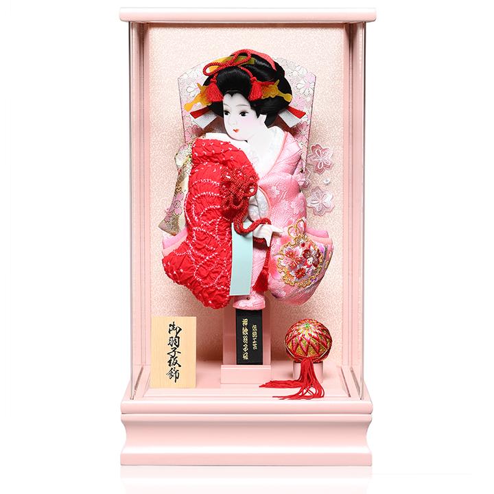 10号鹿の子/桜刺しゅう振り袖押絵羽子板:パールピンクアクリル手毬付ケース伏見屋監修