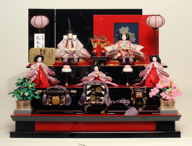 【雛人形 五人飾】【雛人形】 京十番親王六寸官女揃:彩桜雛:千匠作【ひな人形】