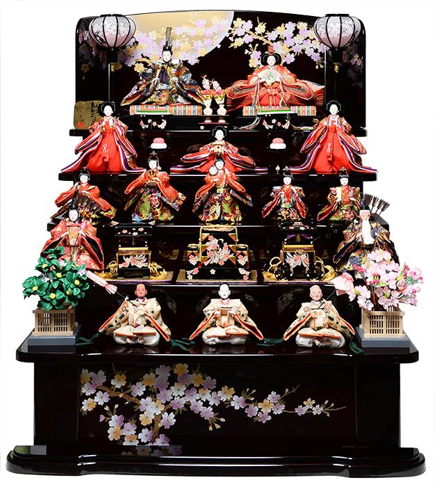 【雛人形 十五人飾】【雛人形】【五段飾】平安の宴雛 十番親王 三五 十三人飾:千匠作【ひな人形】