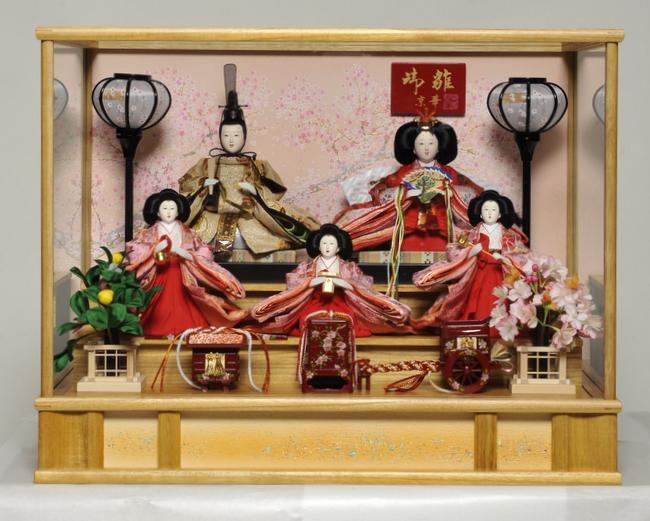 ケース入り雛人形 五人白木:芥子親王柳官女飾:京華作