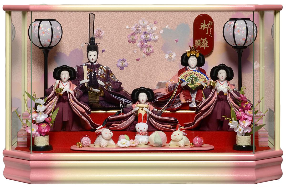 【雛ケース】【五人飾・三人官女付】小三五親王五人:ピンクボカシパノラマケース:美光作【雛人形】【ひな人形】
