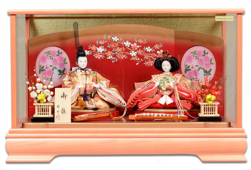 【雛人形】【雛ケース】三五2人:パールピンク屏風付ケース:雅秀作【ひな人形】