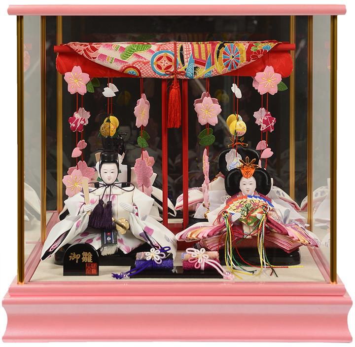 【雛人形】【ひなケース】小芥子つるし飾り几帳付雛鏡バックケース:伏見屋監修【ひな人形】