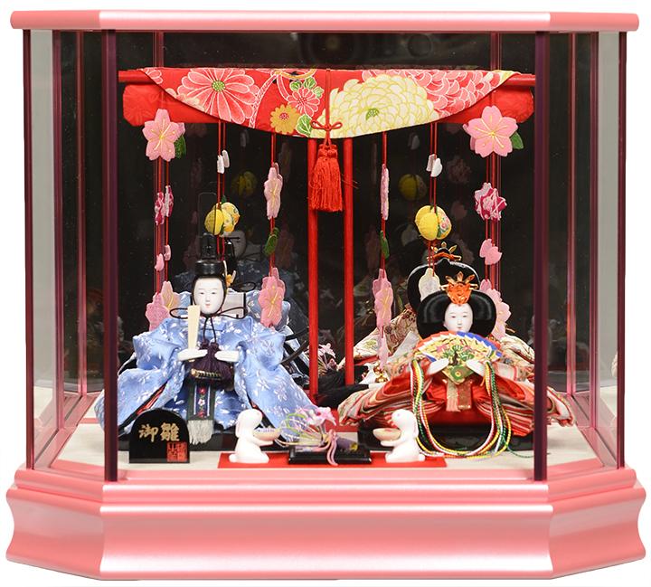 【雛人形】【ひなケース】小芥子つるし飾り几帳付雛鏡バックピンクケース:伏見屋監修【ひな人形】