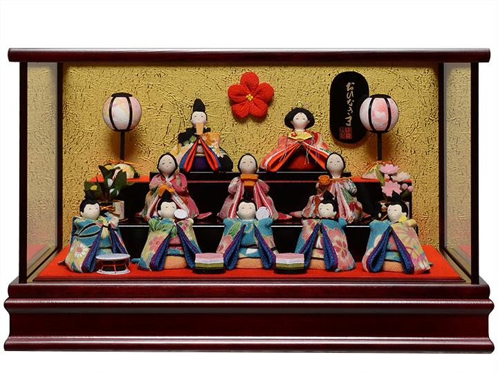 【雛人形】【雛ケース】ミニ雛十人茶漆塗ケース:伏見屋監修【ひなケース】【ひな人形】