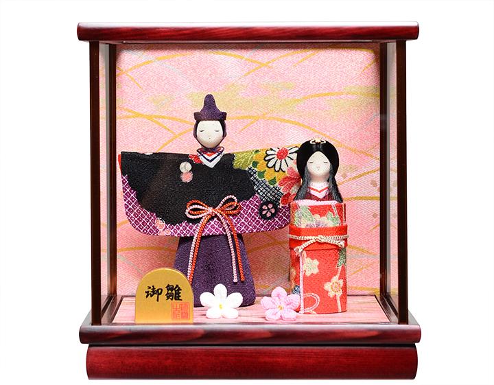 【雛人形】【雛ケース】ミニ縮緬立雛ケース:伏見屋監修【創作雛】【ひな人形】