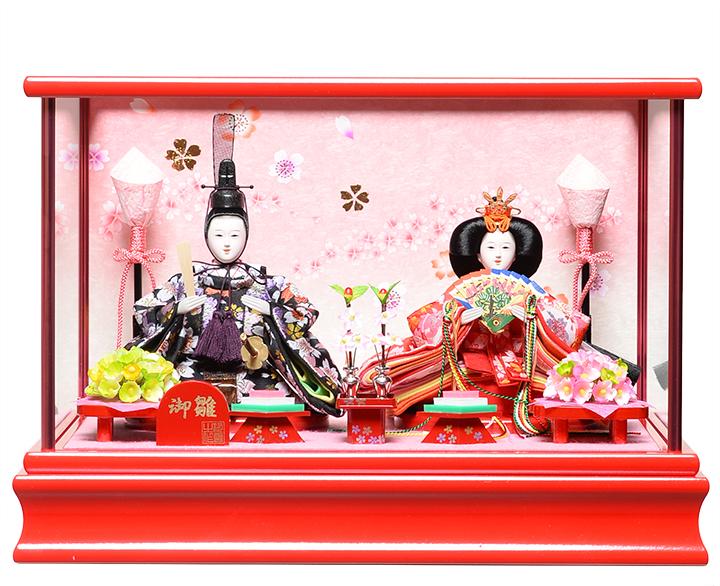 【雛人形】【親王ケース飾り】小芥子親王ケース:伏見屋監修作:ワインレッドケース【ひなケース】【ひな人形】