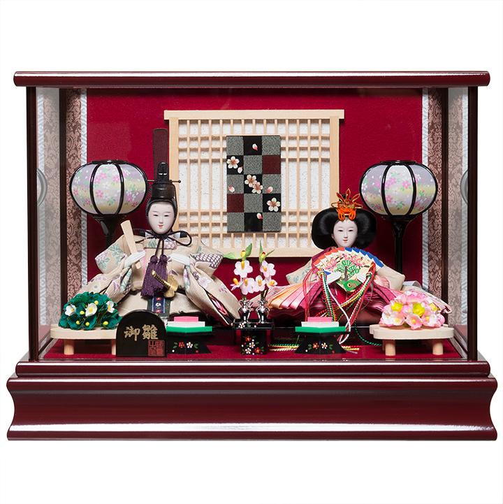 【雛人形】【親王ケース飾り】小芥子親王雛ケース:伏見屋監修:木肌塗ケース【ひなケース】【ひな人形】