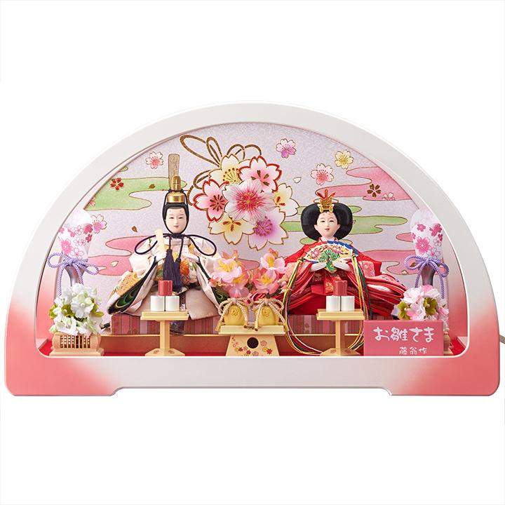 【ひなケース】円華芥子親王ホワイト/ピンクケース:丸形:藤翁作【雛人形】【ひな人形】