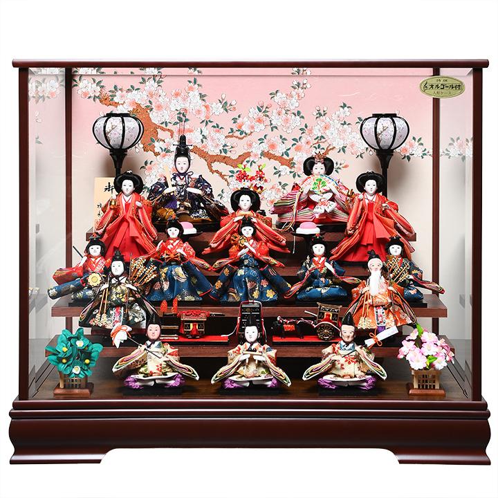 【ひなケース】芥子親柳 十三人飾ケース:雅秀作【雛人形】【ひな人形】