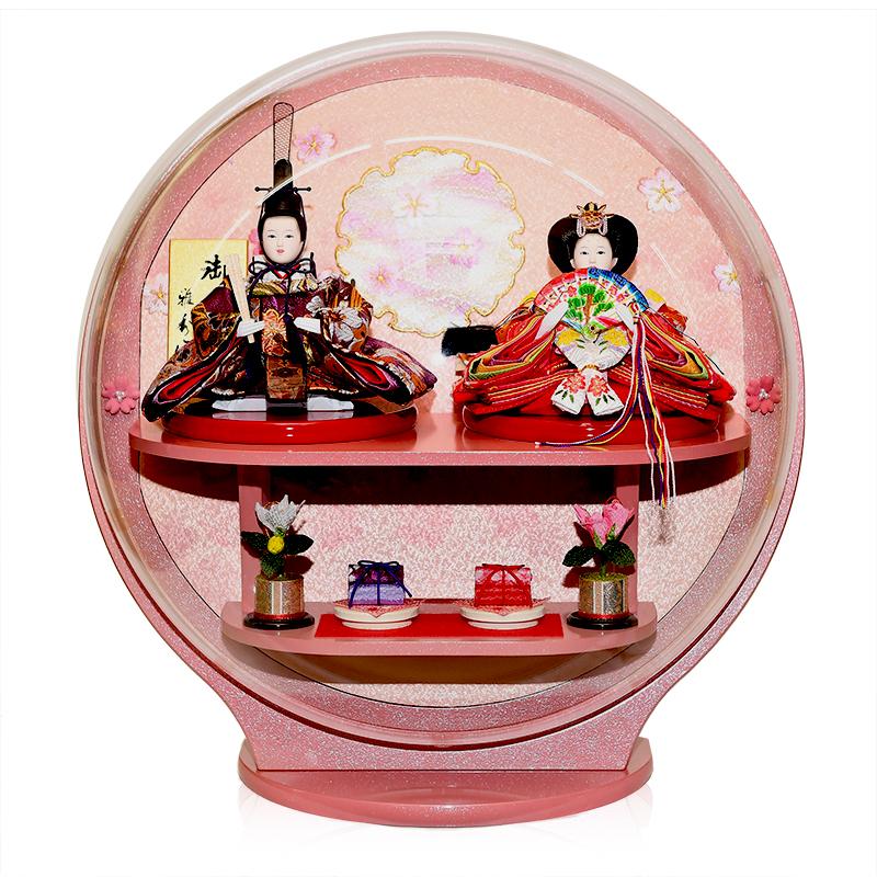 【ひなケース】ドーム型ピンク塗アクリルケース:伏見屋監修【雛人形】【ひな人形】