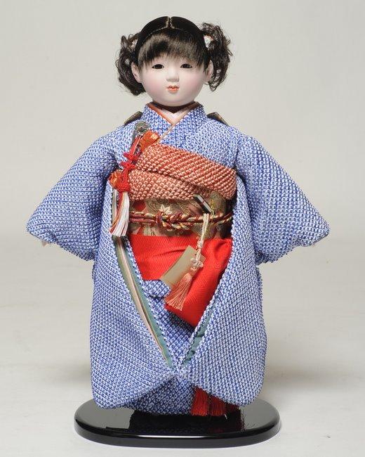 【市松人形】13号市松人形 正絹鹿の子絞り衣裳【カール】 翠華作【ひな人形】【浮世人形】