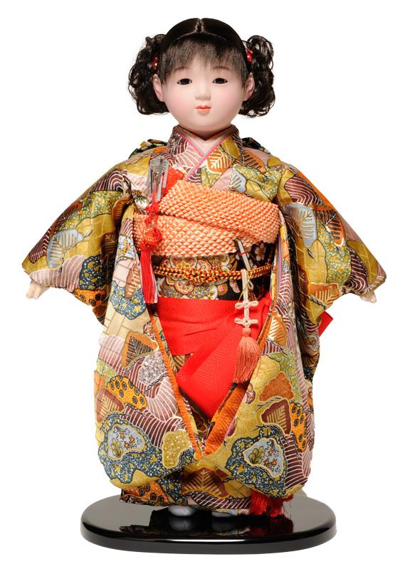 【市松人形】13号市松人形 金襴衣裳【カール】 翠華作【ひな人形】【浮世人形】