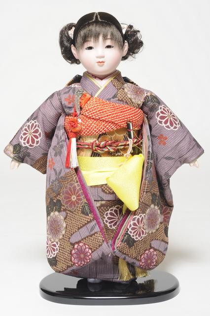 【ひな人形】【市松人形】市松人形 13号市松人形:縮緬衣装【カール】:翠華作【木目込市松人形】【浮世人形】