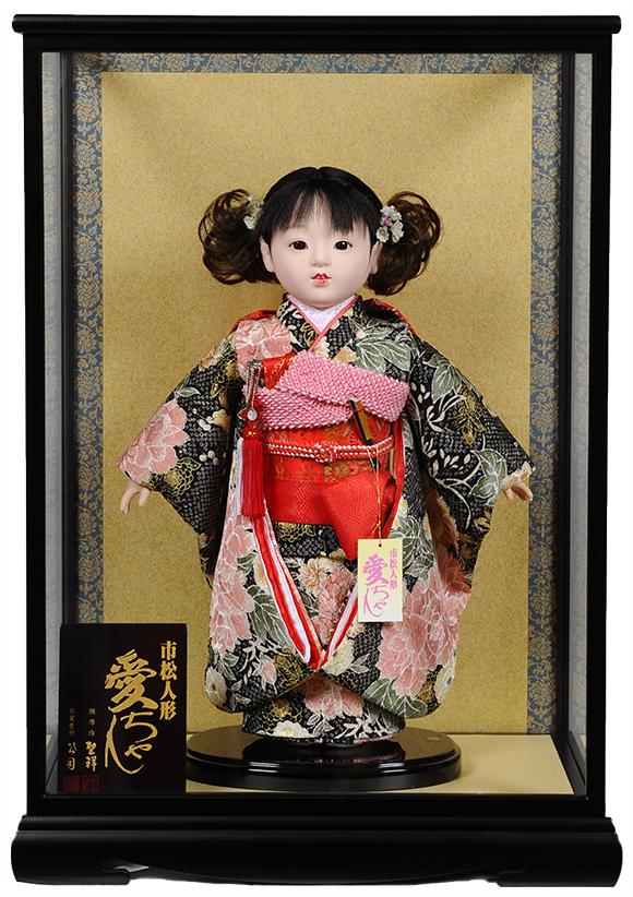 【市松人形】10号市松人形:京染衣装 愛ちゃん:公司作 ケース入り【ひな人形】【浮世人形】