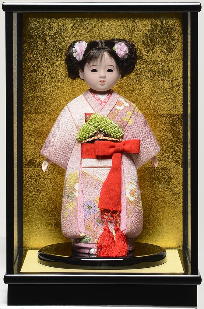 【市松人形】8号 木目込市松:草園作 ケース入り 【ひな人形】【浮世人形】