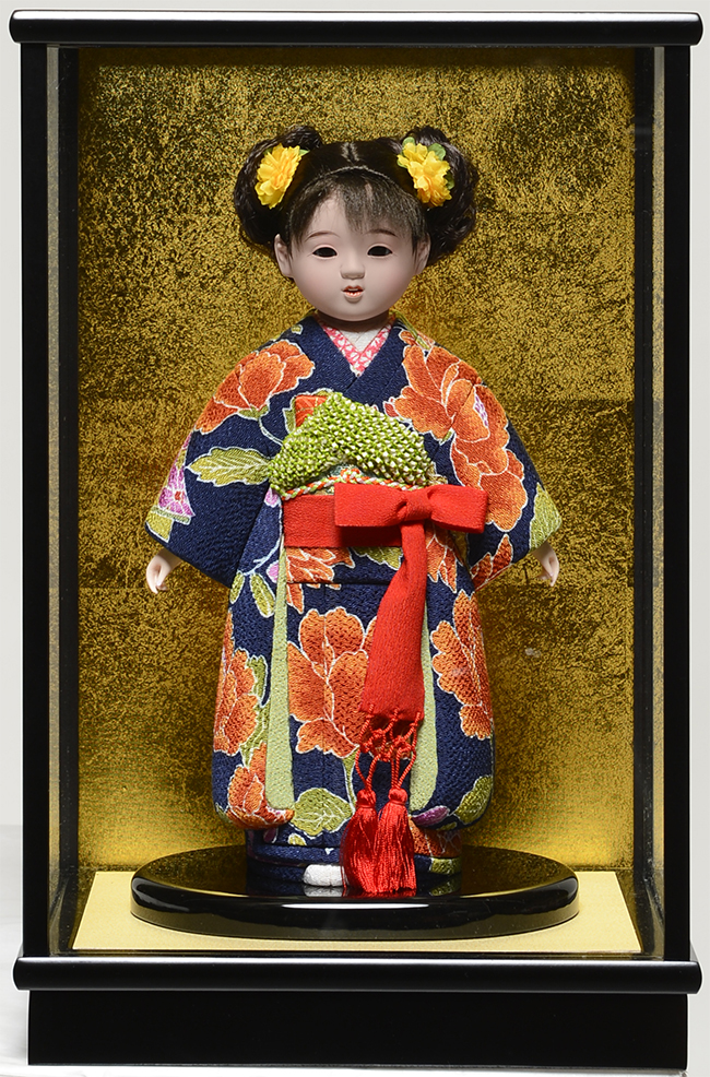 【市松人形】8号 木目込市松:草園作 ケース入り【ひな人形】【浮世人形】