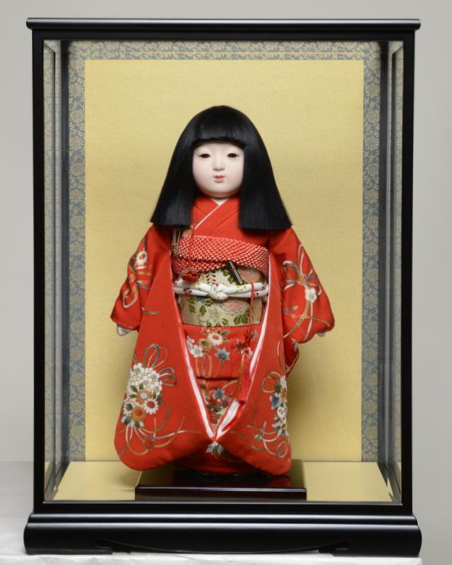 【市松人形】12号市松:正絹京染手縫い衣裳:元賀章介作 ケース入り【ひな人形】【浮世人形】