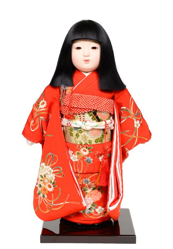 【市松人形】12号市松:正絹京染手縫い衣裳:元賀章介作【ひな人形】【浮世人形】