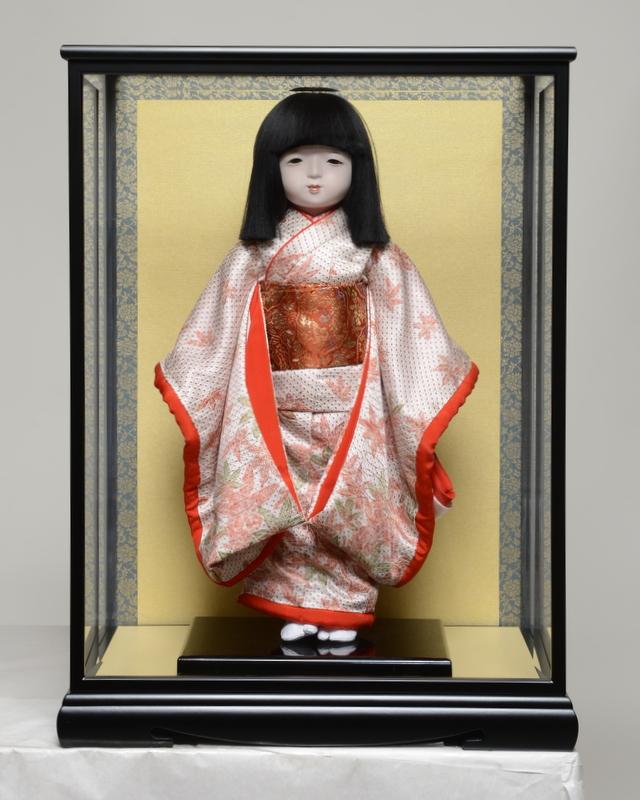 【市松人形】13号市松人形:正絹古布調本仕立仕様ケース入り:伊藤草園作【ひな人形】【浮世人形】