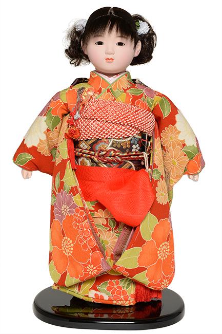 【雛人形】【市松人形】13号市松人形:綸子衣装【カール】:翠華作【ひな人形】【浮世人形】