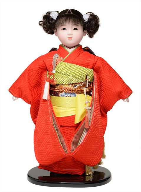 【雛人形】【市松人形】13号市松人形:ふくれ織衣装【カール】:翠華作【ひな人形】【浮世人形】