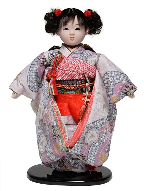 【雛人形】【市松人形】13号市松人形:京友禅衣裳【カール】:翠華作【ひな人形】【浮世人形】