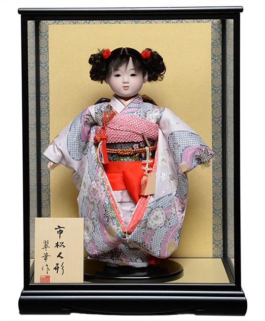 【雛人形】【市松人形】13号市松人形:京友禅衣裳【カール】:翠華作 ケース入り【ひな人形】【浮世人形】