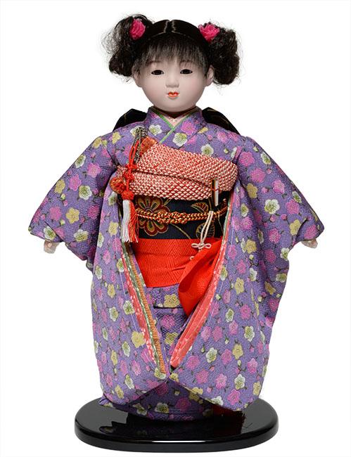 【雛人形】【市松人形】13号市松:縮緬衣装【カール】:翠華作【ひな人形】【浮世人形】