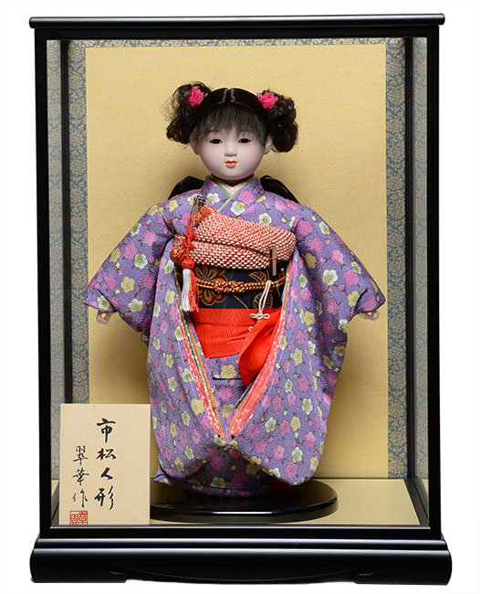 【雛人形】【市松人形】13号市松:縮緬衣装【カール】:翠華作 ケース入り【ひな人形】【浮世人形】