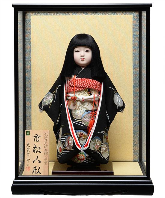 【雛人形】【市松人形】12号市松人形:正絹京染手刺しゅう衣裳:元賀章介作 ケース入り【ひな人形】【浮世人形】