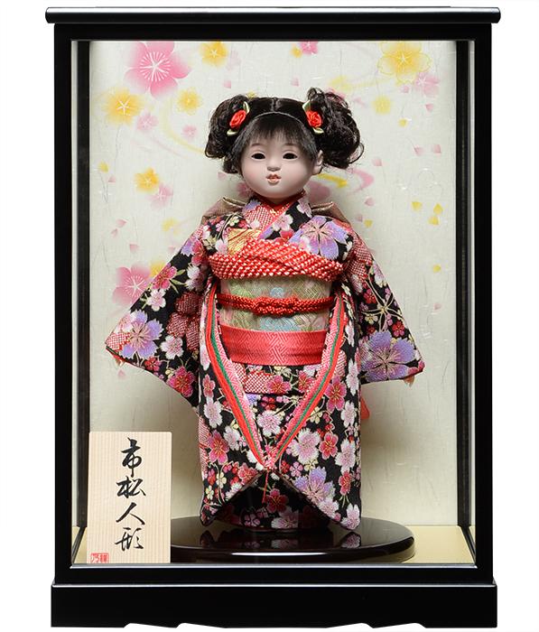【市松人形】8号市松人形:綸子桜花弁衣裳ケース付【カール】:敏光作 【ひな人形】【浮世人形】