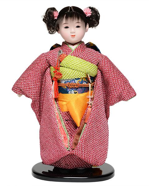 【雛人形】【市松人形】13号市松人形:正絹鹿の子絞り衣裳【愛ちゃん】:翠華作【ひな人形】【浮世人形】