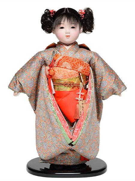 【雛人形】【市松人形】13号市松人形:綸子衣裳【愛ちゃん】:翠華作【おかっぱ】:翠華作【ひな人形】【浮世人形】
